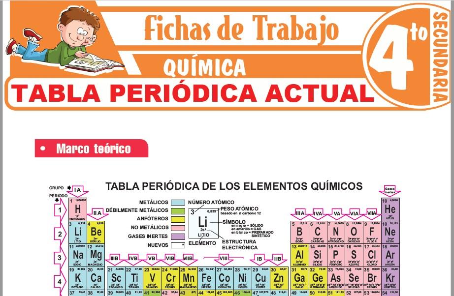 Modelos de la Ficha de Tabla periódica actual para Cuarto de Secundaria