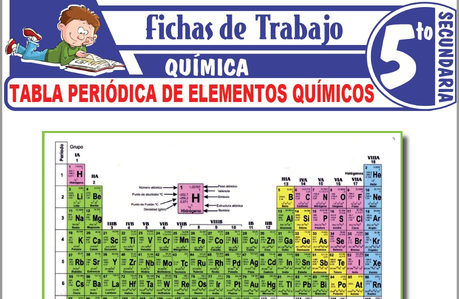 Modelos de la Ficha de Tabla periódica de elementos químicos para Quinto de Secundaria