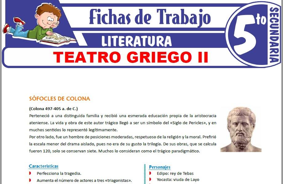Modelos de la Ficha de Teatro griego II para Quinto de Secundaria