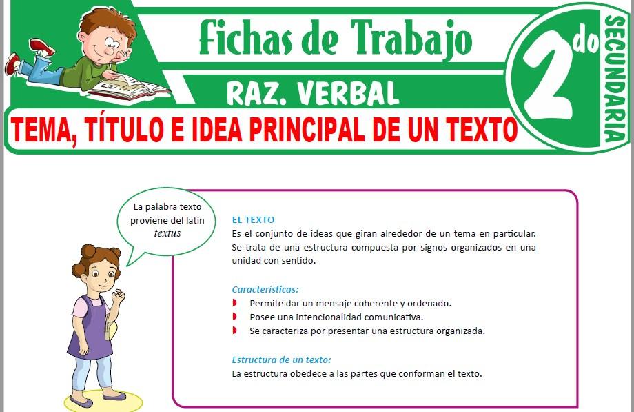 Modelos de la Ficha de Tema, título e idea principal de un texto para Segundo de Secundaria