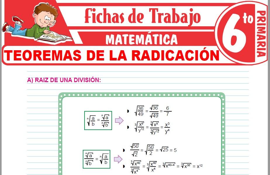 Modelos de la Ficha de Teoremas de la radicación para Sexto de Primaria