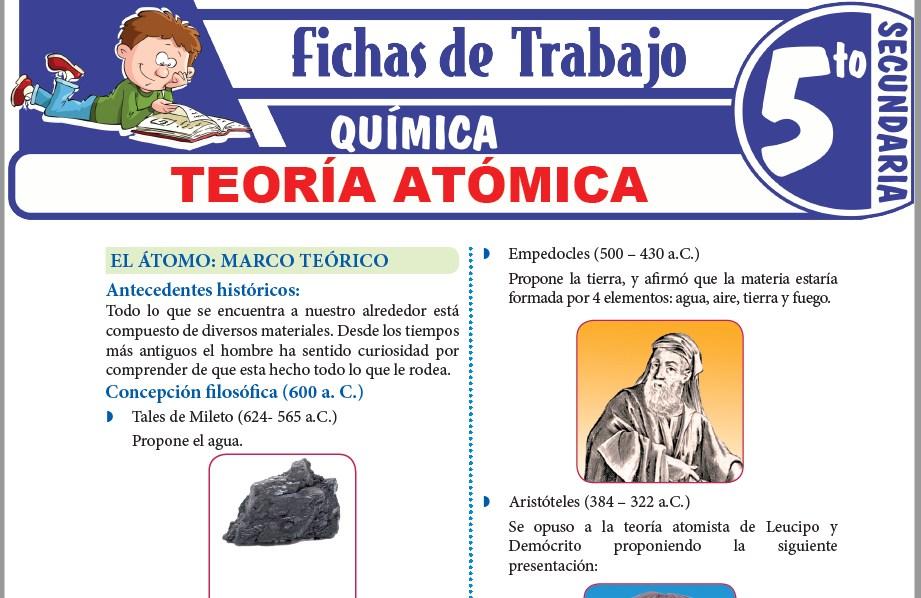Modelos de la Ficha de Teoría atómica para Quinto de Secundaria