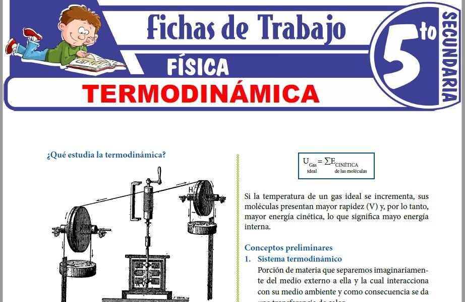 Modelos de la Ficha de Termodinámica para Quinto de Secundaria