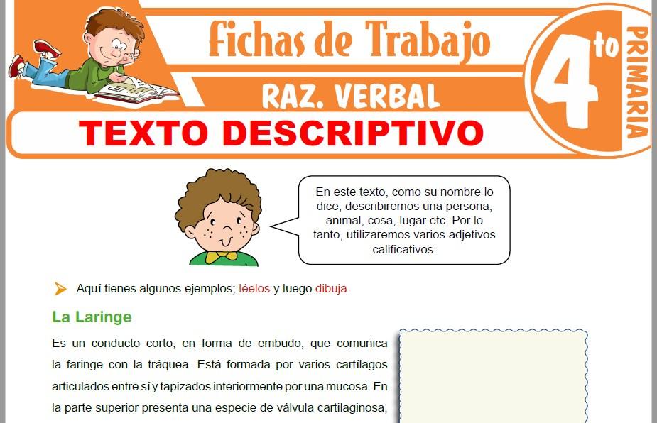 Modelos de la Ficha de El texto descriptivo para Cuarto de Primaria