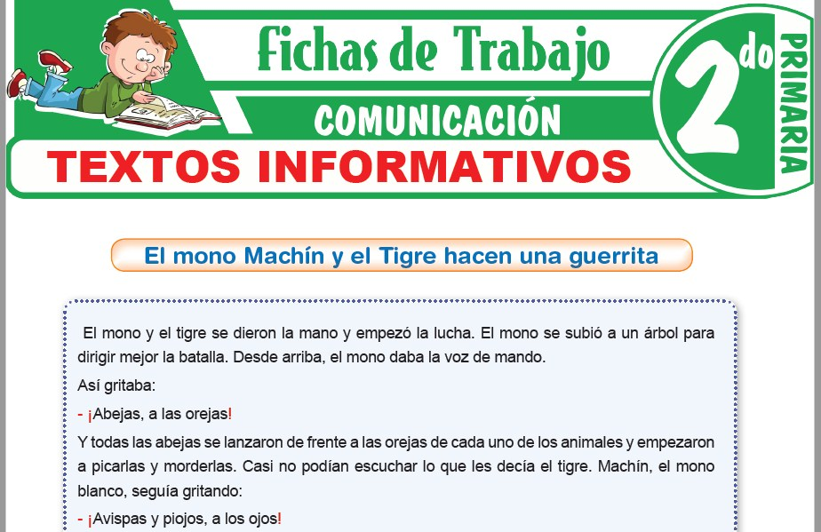 Modelos de la Ficha de Textos informativos para Segundo de Primaria