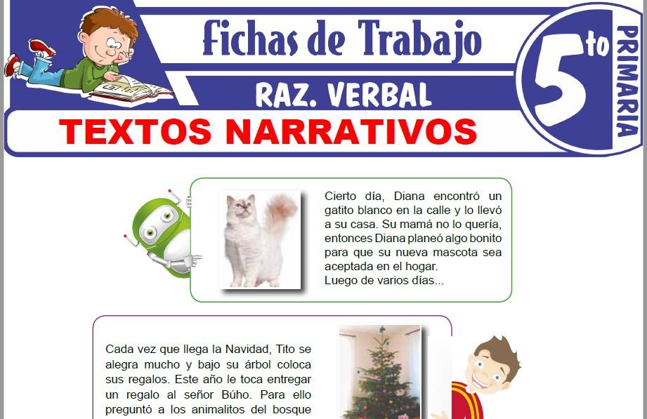 Modelos de la Ficha de Textos narrativos para Quinto de Primaria