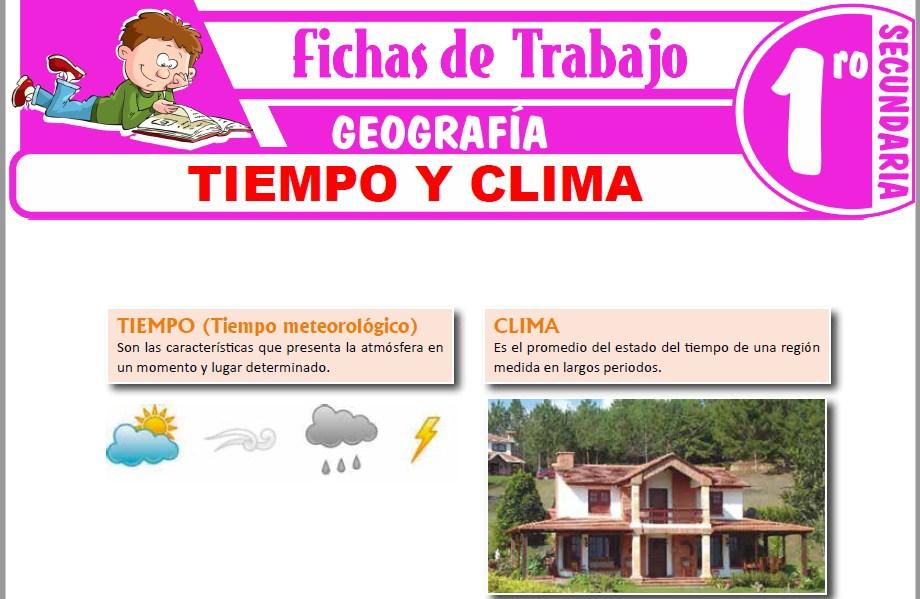 Modelos de la Ficha de Tiempo y clima para Primero de Secundaria