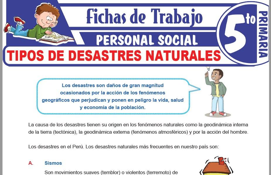 Modelos de la Ficha de Tipos de desastres naturales para Quinto de Primaria