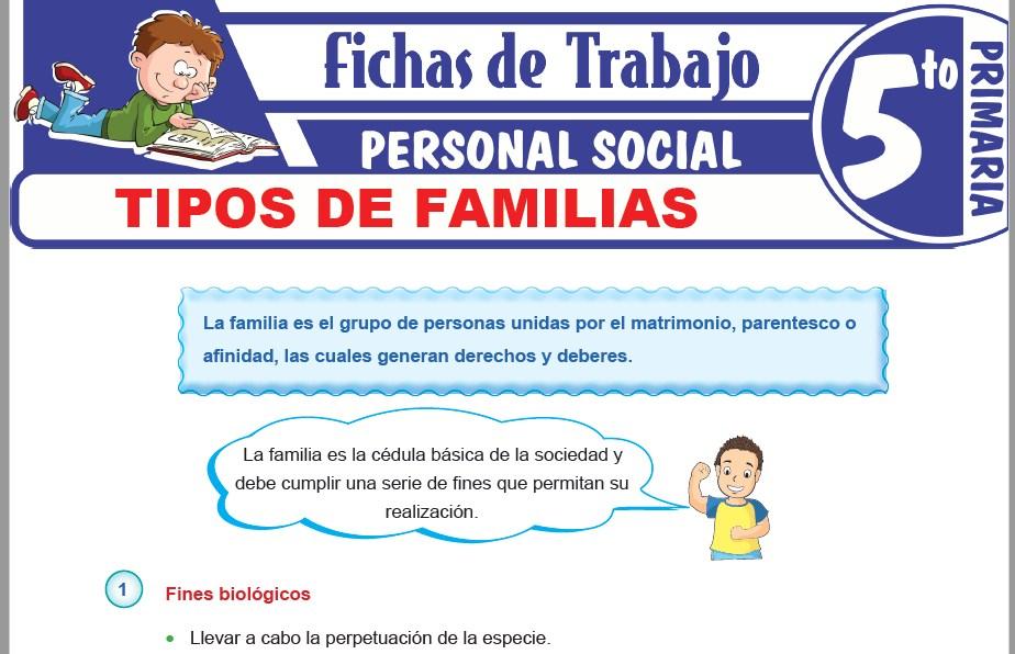 Modelos de la Ficha de Tipos de familias para Quinto de Primaria