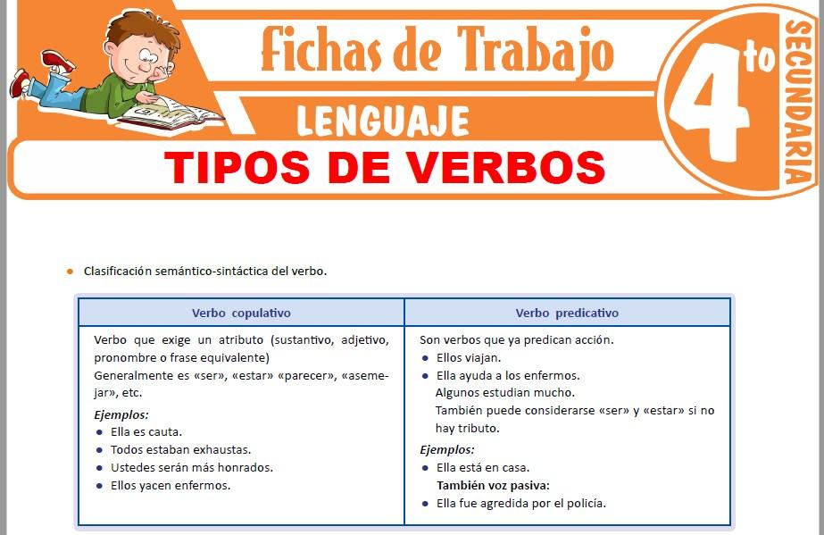 Modelos de la Ficha de Tipos de verbos para Cuarto de Secundaria