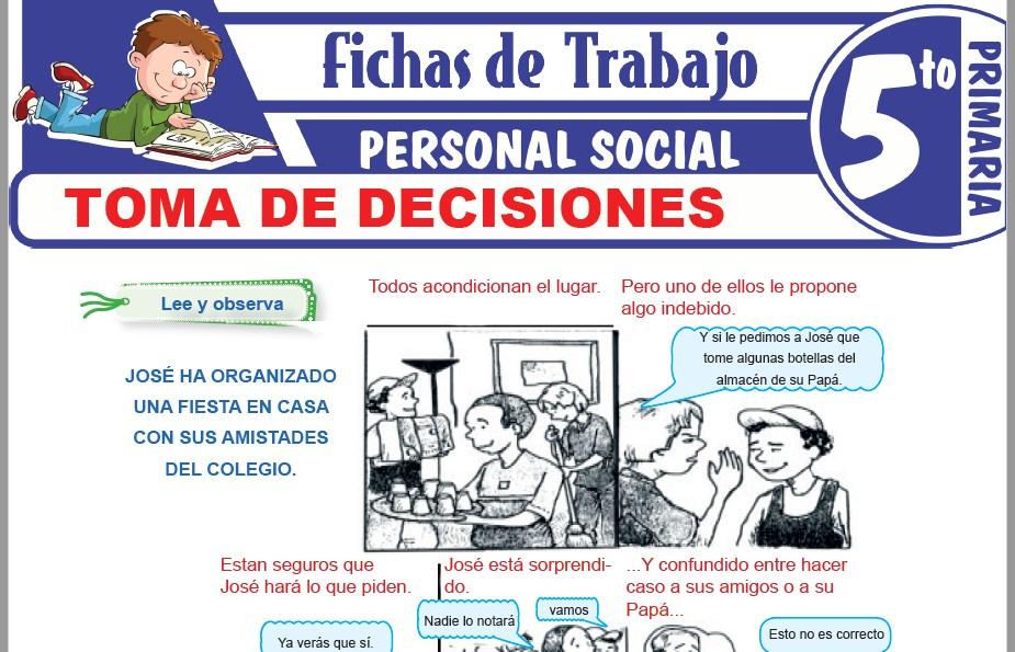 Modelos de la Ficha de Toma de decisiones para Quinto de Primaria
