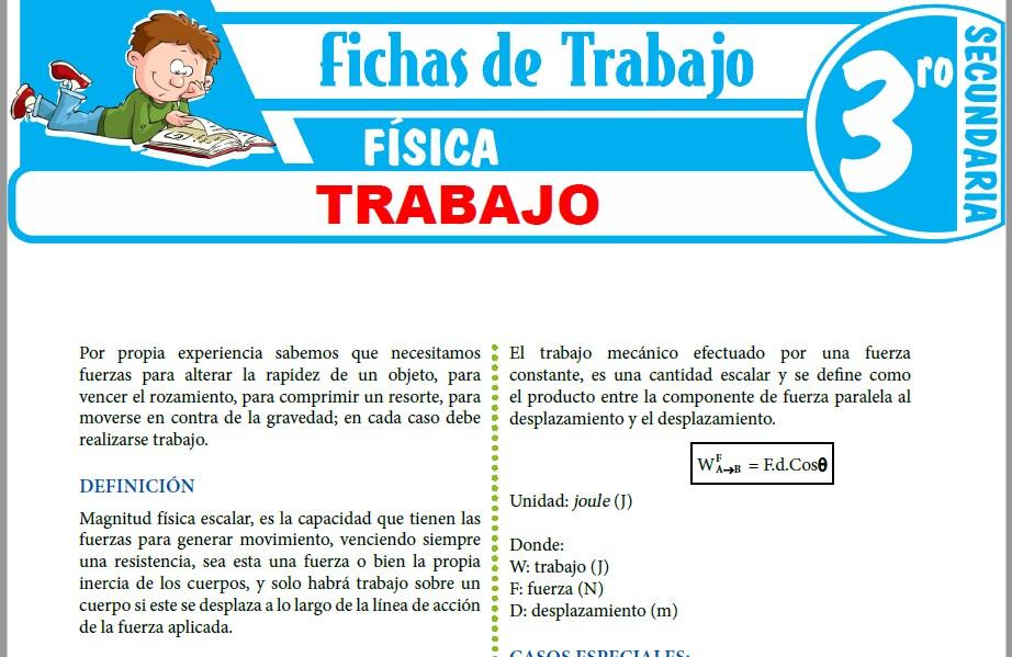 Modelos de la Ficha de Trabajo para Tercero de Secundaria