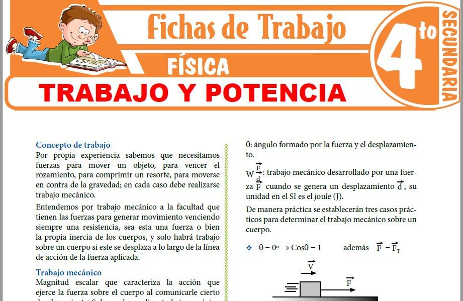 Modelos de la Ficha de Trabajo y Potencia para Cuarto de Secundaria