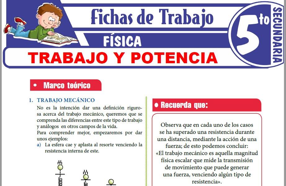 Modelos de la Ficha de Trabajo y Potencia para Quinto de Secundaria