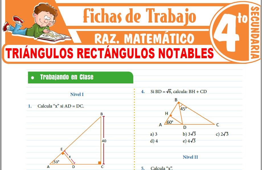 Modelos de la Ficha de Triángulos rectángulos notables para Cuarto de Secundaria