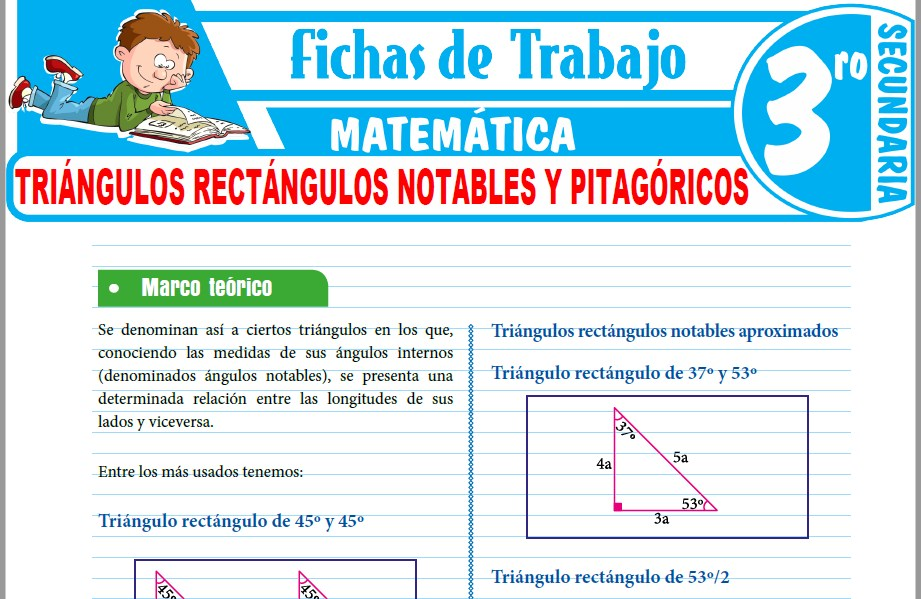 Modelos de la Ficha de Triángulos rectángulos notables y pitagóricos para Tercero de Secundaria