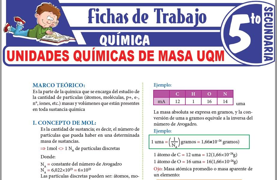 Modelos de la Ficha de Unidades químicas de masa UQM para Quinto de Secundaria