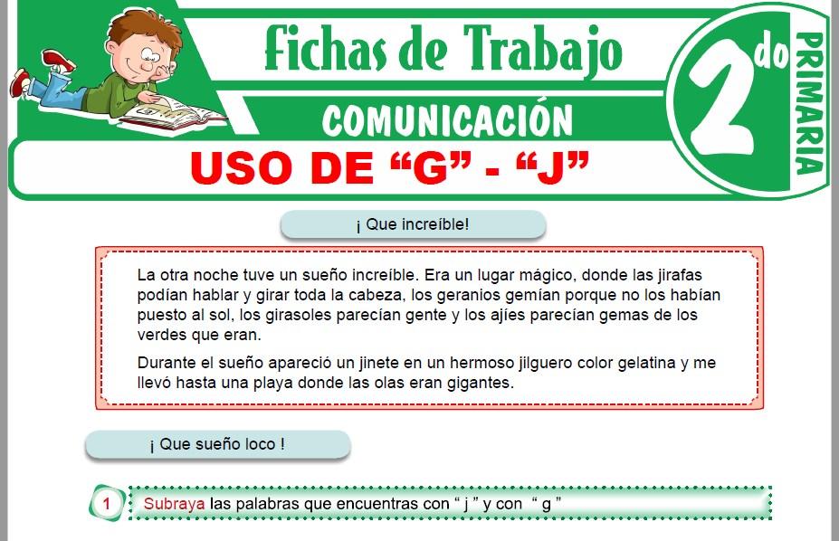 """Modelos de la Ficha de Uso de """"G"""" - """"J"""" para Segundo de Primaria"""