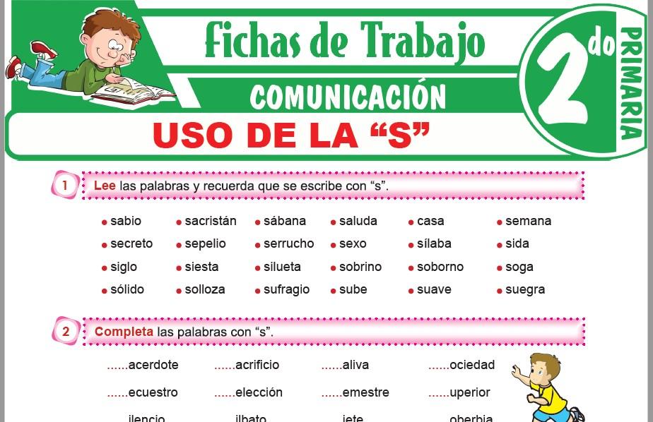 """Modelos de la Ficha de Uso de la """"S"""" para Segundo de Primaria"""