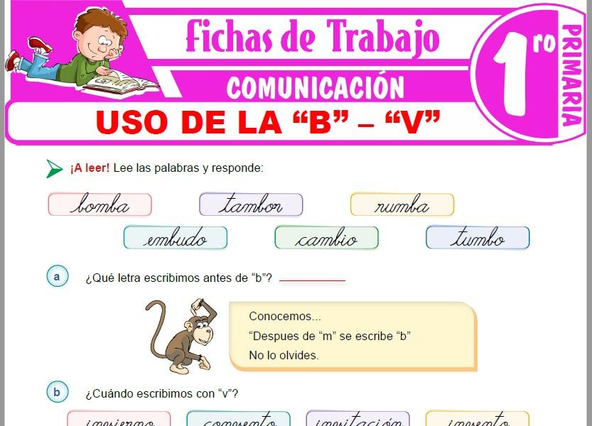 "Modelos de la Ficha de Uso de la ""b"" – ""v"" para Primero de Primaria"