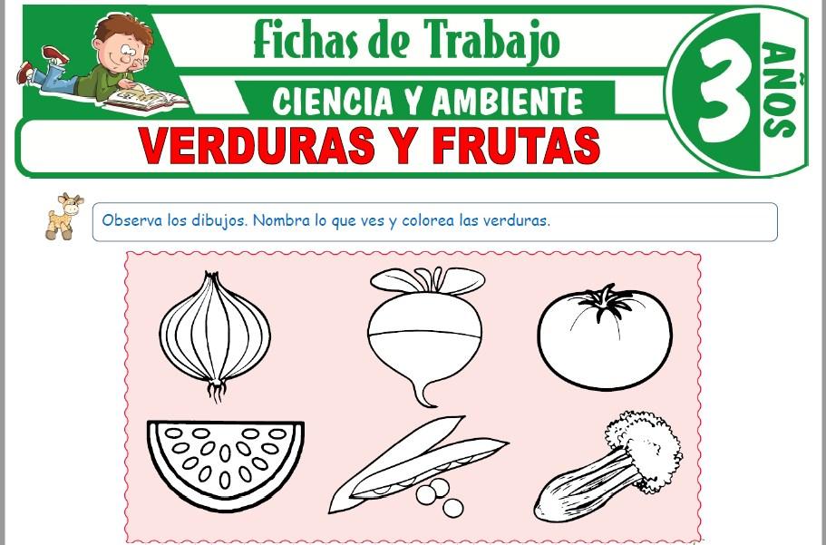 Modelos de la Ficha de Verduras y Frutas para Niños de Tres Años