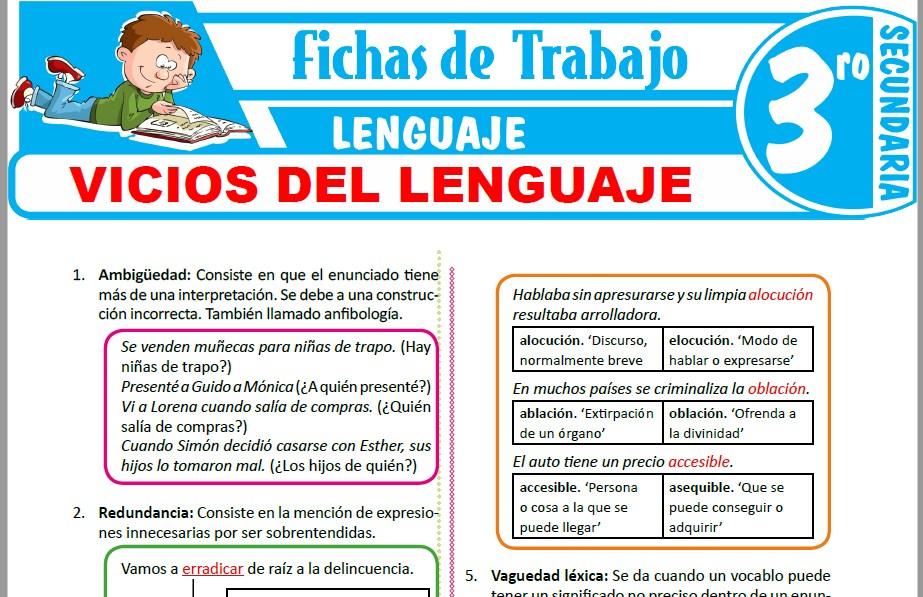 Modelos de la Ficha de Vicios del lenguaje para Tercero de Secundaria