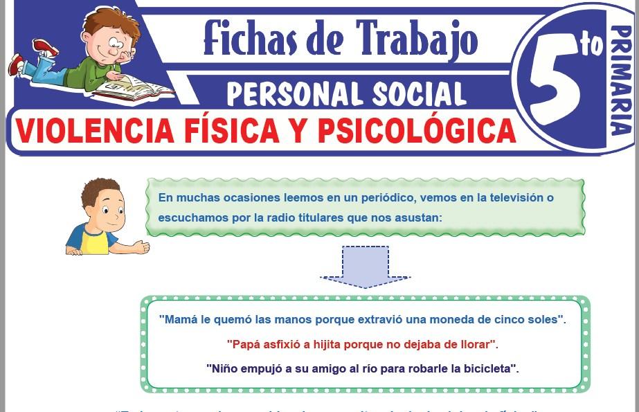 Modelos de la Ficha de Violencia física y psicológica para Quinto de Primaria