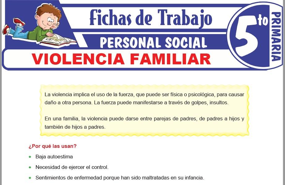 Modelos de la Ficha de Violencia familiar para Quinto de Primaria